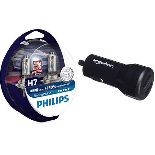 Philips RacingVision +150{1c64a80ea110c5891dac6837d3e717c5ad7deb432758cb9c158a8fe6d656bd37} H7 Scheinwerferlampe 12972RVS2, Doppelset AmazonBasics - Kfz-Ladegerät für Apple- & Android-Geräte, USB-Anschluss: 2 Eingänge, 4,8 Ampere / 24 W, Schwarz