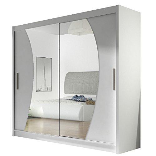 Kleiderschrank mit Spiegel London IX, Schwebetürenschrank, Schiebetürenschrank, Modernes Schlafzimmerschrank 180x215x57cm, Garderobe, Schlafzimmer...