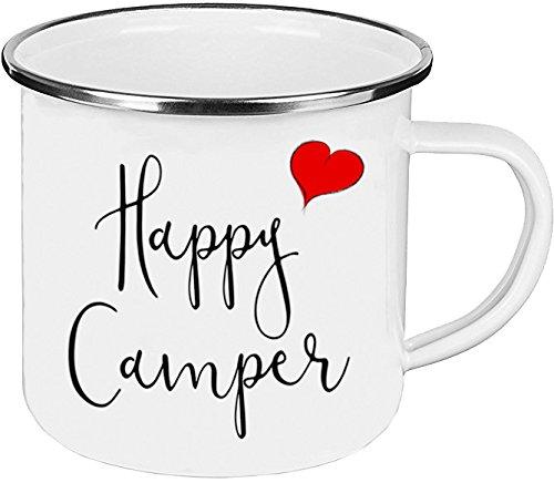 Cadouri - Camping-Tasse mit Spruch HAPPY CAMPER Kaffeetasse Kaffeebecher Emaille-Tasse Campingbecher - 300 - Becher Happy Camper