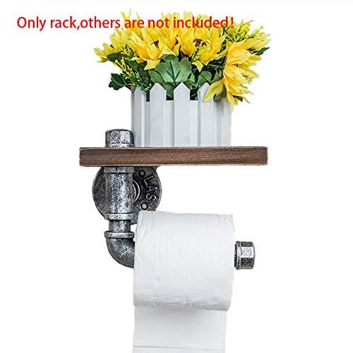 YUOKI99 Wandregal Industrie Rohr Eisen Wand Toilettenpapierhalter mit Holzregal Handyhalter Vintage Tissue Rack für Badezimmer Dekoration (Silber)