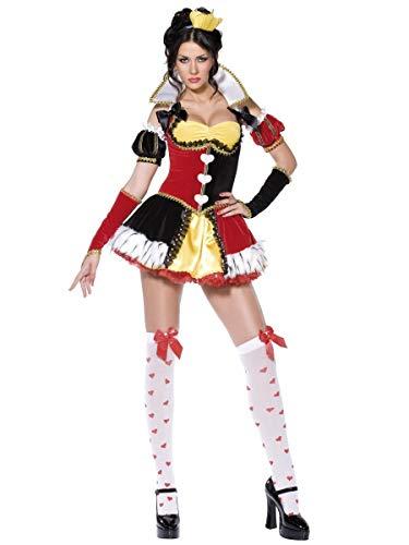 Fancy Me 6- teiliges Damen Sexy Königin der Herzen Alice im Wunderland Kostüm Kleid Outfit - Multi, UK ()