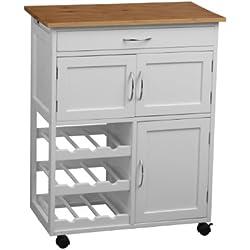 Premier Housewares 2403411 - Carrito de cocina (madera de bambú), color blanco