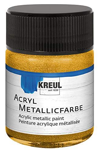 Kreul 77571 - Acryl Metallicfarbe, glamouröse Acrylfarbe mit Metalliceffekt auf Wasserbasis, cremig deckend, schnelltrocknend und wasserfest, 50 ml Glas, gold -
