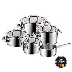 WMF Function 4 Topfset (5-teilig mit Glasdeckel, Kochtopf, Stielkasserolle, Cromargan Edelstahl poliert, 4 Abgießfunktionen, Innenskalierung, induktionsgeeignet) rot