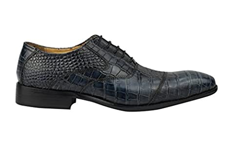 Men Snakeskin Print Leather Lace up Blue Oxford Dress Shoes 6.5 7 8 9 10 11 11.5