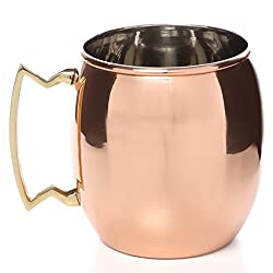 AIA Pure Copper Moscow Mule Mug, Copper Plating Stainless Steel Beer Mug Cup with Brass Handle - 475 ML (16 oz) Each