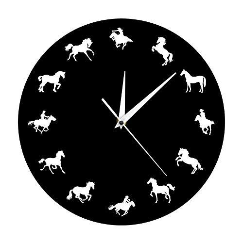 Laufende Pferd Tier Wand Dekor Uhr Cowboy Dekorative Wanduhr Minimalistisches Design Pferd Wanduhr 30x30cm ()