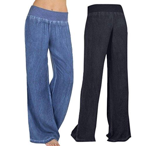 Pantalones vaqueros mujer   ❤️Amlaiworld Vaqueros Pantalones de mezclilla de cintura alta de mujer baratos Pantalones Palazzo de pierna ancha Hippie Pantalón Elasticidad casual para mujer casual