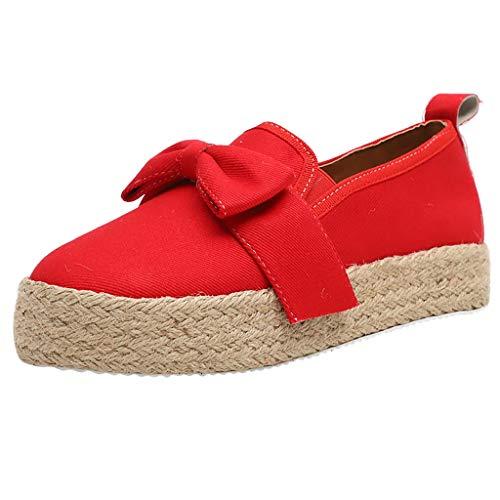 FeiBeauty Damen Slip-on Espadrilles Streifen&Einfarbig Slippers Espadrilles mit Plateauabsatz Bast Mit Bow Slip-On Sneaker -