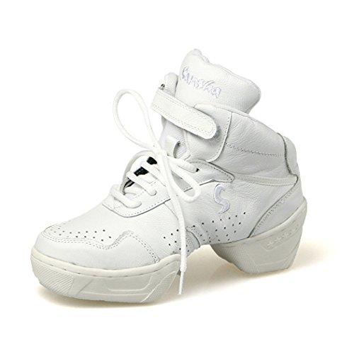 Zq @ Qxconfortable Et Respirante Douce Chaussures De Taille De Fond Carré Lady Jazz A Augmenté Chaussures Chaussures De Danse Blanche