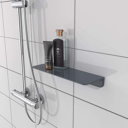 SCHÜTTE 10501 Duschablage selbstklebend Duschregal ohne Bohren Badregal Anthrazit Badablage zum Kleben Wandablage Bad Regal für Badezimmer