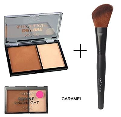 Technic Define & Highlight Duo Face Contour Bronzer & highlighter Kit in Shade - CARAMEL + LyDia Black Angled Face Contour/Blusher/Highlighter Brush from LyDia Beauty