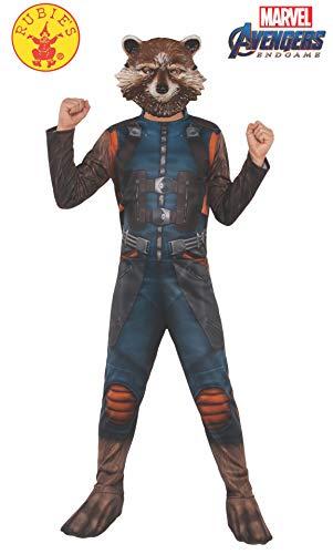 Maske Waschbär Kostüm - Rubie's Offizielles Avengers Endgame Rakete Waschbär, klassisches Kinderkostüm, Größe L, Alter 8-10, Höhe 147 cm