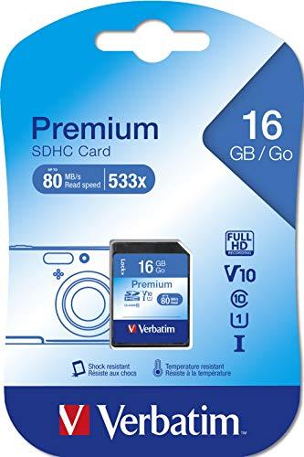 Verbatim Premium U1 SDHC - 16 GB Speicherkarte, Class 10 Karte, Datenübertragsrate von mindestens 45 Mbit/s, schreibschutz, 43962 -