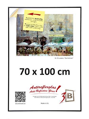 3-B Poster - Großer Bilderrahmen - mit Antireflex Polyesterglas und Einzelverpackung - Schwarz - 70x100 cm (Format B1)   (Große Kunststoff-bilderrahmen)