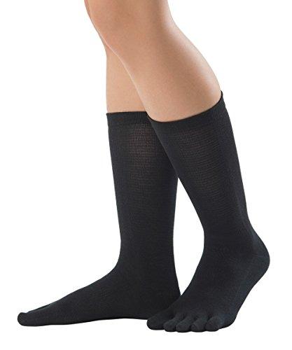 Knitido Silkroad chaussettes à orteils en soie, pointure:35-38, couleur:noir