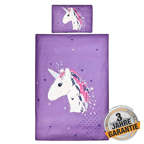 Aminata Kids Kinderbettwäsche 100 x 135 cm + 40 x 60 cm Baumwolle, Reißverschluss - Einhorn, Unicorn - süßes Tier-Motiv für das Baby Bettwäsche-Set in lila, weiß mit Sternen