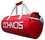 Ichnos borsa sacca sportiva palestra calcio con maniglie e spallaccio (Rosso)