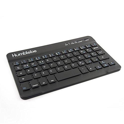 Bluetooth 3.0 Tastatur für Tablet, Handy, Smartphone SCHWARZ [QWERTZ-Layout, 59 Tasten, kabellos wireless]