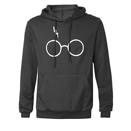 Cloom felpa con cappuccio, donna uomo autunno inverno moda felpa con cappuccio felpa con cappuccio gli occhiali harry potter stampare sweatshirt hoodies(grigio,l)