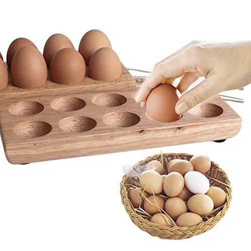 12 Löcher Eierhalter Holz Eierständer für Kühlschrank Eiereinsatz Eier lagern-25cmx11cmx3cm