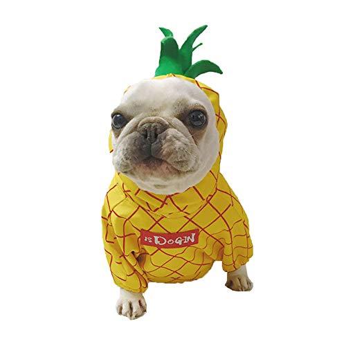 Amakunft Ananas-Kostüm, Halloween, Obst, Cosplay-Mantel für Party, Weihnachten, Besondere Anlässe, Kostüm, süßer Kapuzenpullover für Pitbull Welpen Jumpsuit Katze Jacke (Gangsta Kostüm Halloween)