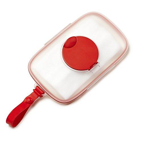 Skip Hop Grab und Go Feuchttücherbox, aus Silikon mit Klickverschluss, mit Silikondichtung, rot