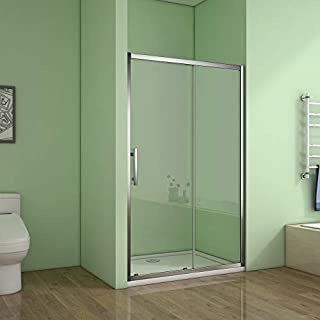 Aica Bathrooms 1200mm Sliding Modern Bathroom 6mm Glass Shower Enclosure Cubicle Door, Aluminum alloy Chrome, 1200x1850mm