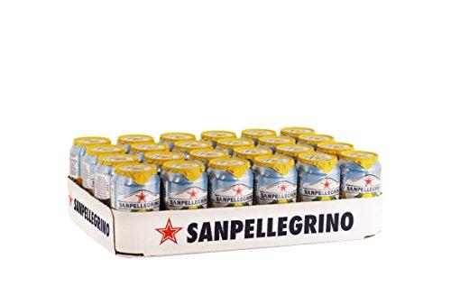 Soda-24 Pack (Sanpellegrino Limonata Zitronen Limonade, hoher Fruchtanteil 16% frisch gepresster Zitronen, ideal für unterwegs, 24er Pack (24 x 0,33l) Einweg Dosen)