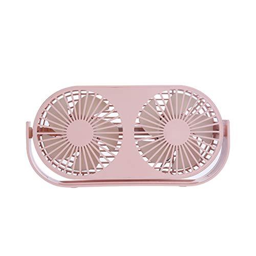 bloatboy Doppelkopf Aromatherapie Ventilator, USB Studentenwohnheim Desktop Doppelblatt Miniventilator (Pink) (Desktop-fall-tower)