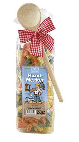 Pasta Präsent Handwerker mit bunten Werkzeugnudeln handgefertigt in deutscher Manufaktur (Handwerker-akkuschrauber)