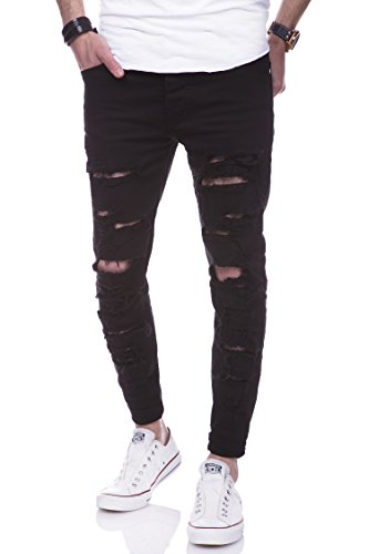 behype. Jeans Destroyed Slim-Fit Hose 80-2094 Schwarz 36/32