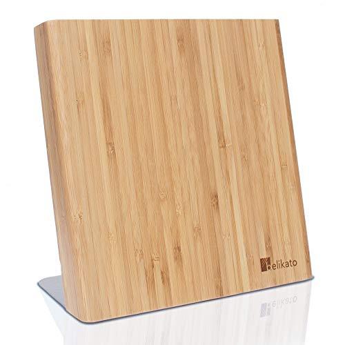 BELIKATO | Messerblock Magnetisch | Messerblock Unbestückt aus Gedämpftem Bambus mit Edelstahlfuß und Anti-Rutsch-Pads| Magnetischer Messerhalter ohne Messer aus Holz