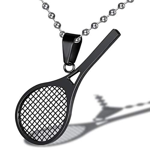 RONGJJTG Titanstahl Halskette Tennisschläger Anhänger Badminton Squash Schläger Charm Anhänger Halskette Punk Titan Stahlkette Für Männer Frauen, Black