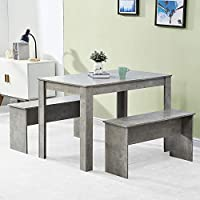 BOJU Wooden Dinette Set Kitchen Rectangular Dining Table and 2 Benches for Small Space Dinner Set for 4 People Use Cafe Restaurant