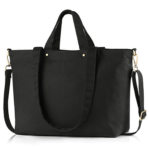 BONTHEE Canvas Handtasche Damen Große Shopper Tasche mit 13,5 Zoll Laptopfach für Schule Reisen Arbeit - Schwarz (Shopper Groß Schwarz)