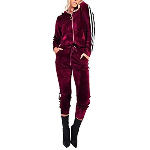 Strung Bekleidungsset Damen Mode Trainingsanzug Sportanzug Casual Langarm Hoodie Sweatshirt Pullover mit Slim fit Trainingshose Freizeit Sporthose 2 Teiler Sport Set (Wein,S)