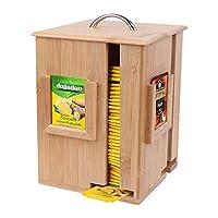 UNHO Boîte à Thé Verticale en Bambou avec 4 Compartiments Caisse de Thé Tournante Design Nordique Rangement Organisateur de Sachets de Thé