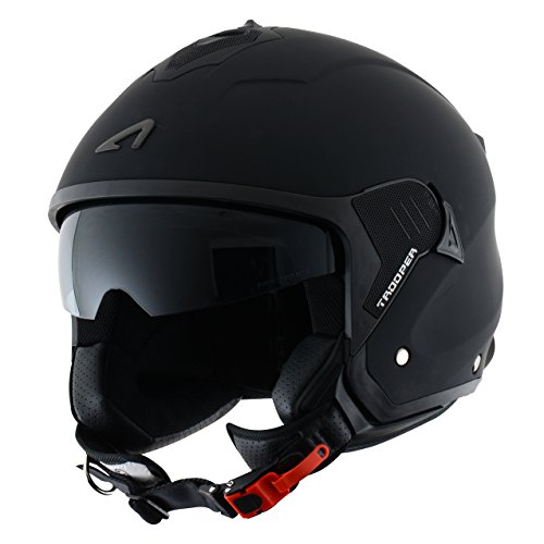 Astone Helmets Casco Jet Mini, diseño de soldado, color Negro mate, talla XL