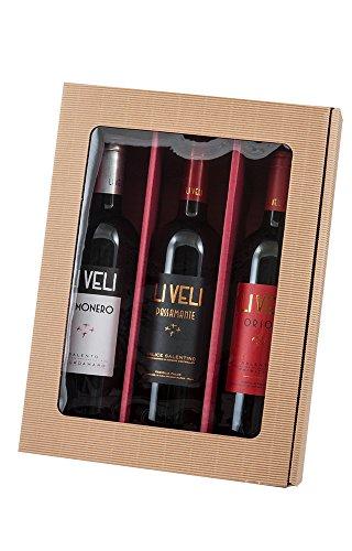 Neutraler Weinpräsentkarton mit Fenster - 5 Stück - 3er Geschenkkarton natur/bordeaux Test