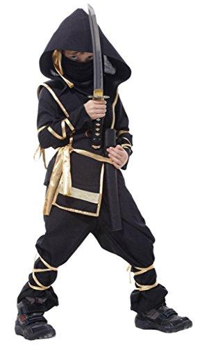 Black Ninja Cosplay HalloweenKarneval Fasching Bekleidung Körpergröße 130-140cm (Black Ninja Kind Kostüme)