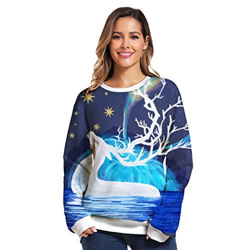 Xmiral Pullover Damen Komisch 3D Druck Lange Ärmel Rundhals Bluse Tops für Weihnachten Lose Paare Tragen Sweatshirt(Blau 2,3XL)
