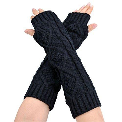Ardisle Damen Schwarzer Langarm Fingerlose Handschuhe Handschuhe Handwärmer ()