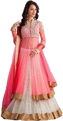 7Eleven Store Women\'s Net Lehanga Choli (Pink Koti _Pink_ Free Size)