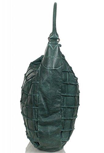 FREDsBRUDER sac besace effet gaufré en cuir ciré doux FS 16 (36 x 37 x 10 cm) Turquoise (Türkis / Grün)