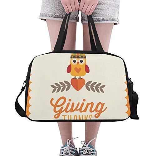 Plsdx Goldene glückliche Danksagungsfeier große Turnhalle Totes Eignung Handtaschen Reise Duffel Taschen mit Schultergurt Schuhbeutel für Übung Gepäck für die Frauen der Frauen im Freien