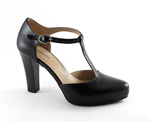 NERO GIARDINI 17350 nero scarpe donna charleston tacco plateaux Nero