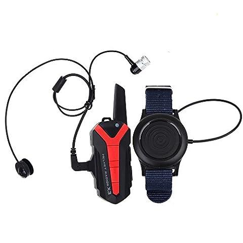 Boblov X 3 Plus de 1,5 à 3KM BT Bluetooth vélo vélo Bluetooth Headset Casque groupe Intercom casque Interphone Walkie Talkie 2 Way Radio UHF 400-470MHZ PTT sans fil télécommande (1pcs)