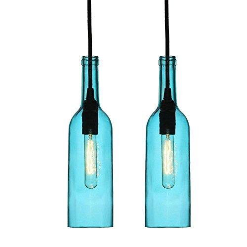 2er Set Design Flaschen Hänge Leuchten Wohn Ess Zimmer Decken Beleuchtung Glas Pendel Lampen blau - Blaue Decken-beleuchtung