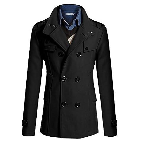 Manteau Classique Long Homme - WSLCN Homme Classique Manteau Long de Haut